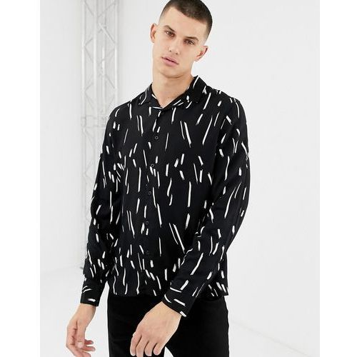 regular fit revere collar shirt in black print - black marki New look