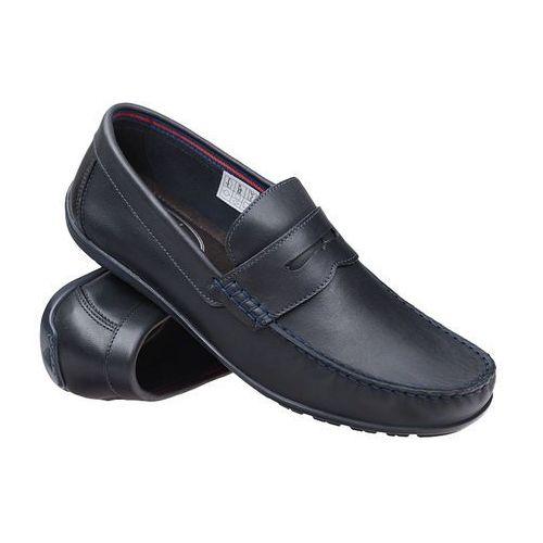 Mokasyny buty wsuwane KRISBUT 4925 Granatowe - Granatowy (0000492529416)