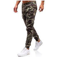 Spodnie męskie joggery bojówki zielone Denley 5398, kolor zielony
