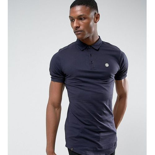 Le Breve TALL Curved Hem Polo with Back Panelling - Navy, kolor szary