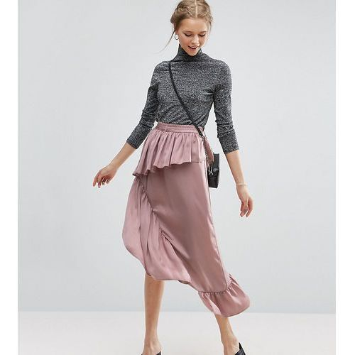 deconstructed midi skirt in satin - pink, Asos tall