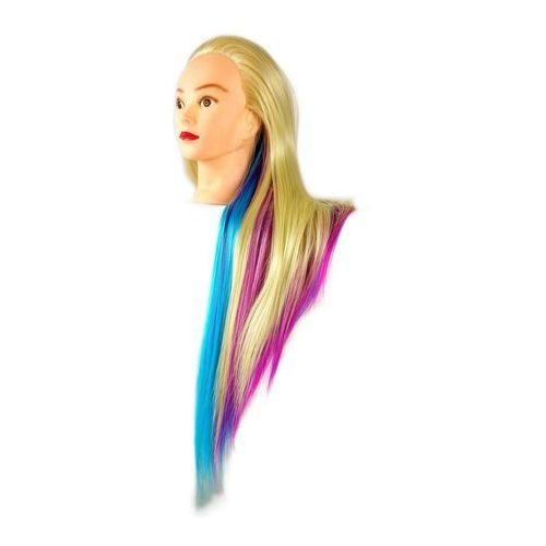 Główka treningowa fryzjerska iza włos termiczny 90cm złoty różowy niebieski marki Calissimo