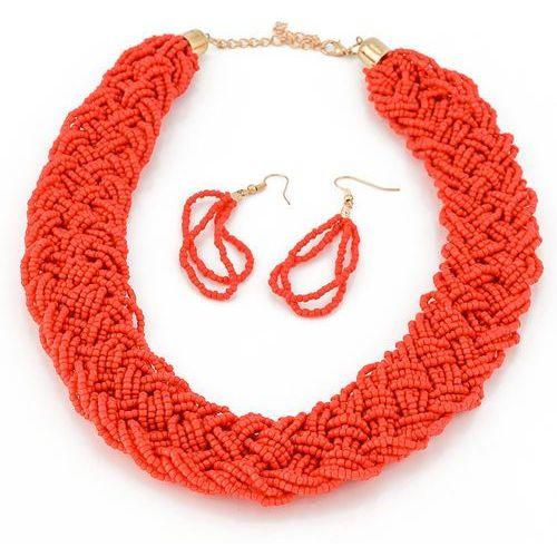 Cloe Naszyjnik kolczyki koraliki czerwony - czerwony