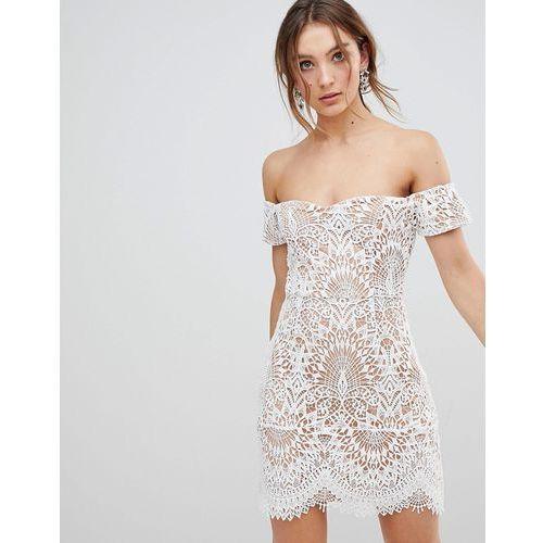 lace overlay bardot dress - white marki Boohoo