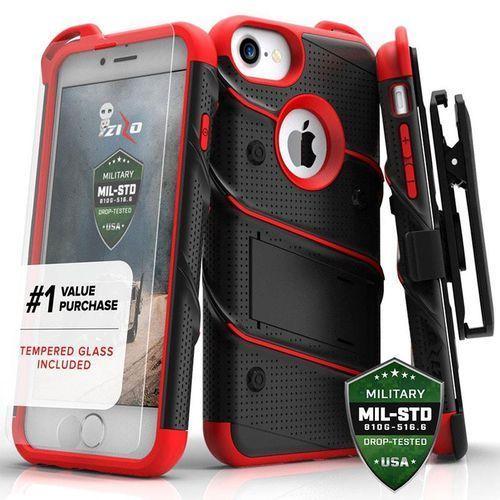 Zizo bolt cover etui pancerne iphone 8 / 7 / 6s / 6 (czarny/czerwony) + szkło hartowane na ekran