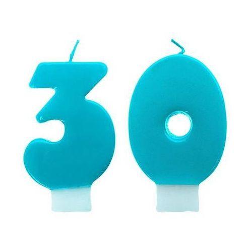 Świeczki cyferki turkusowe - 30 - trzydziestka - 2 szt.