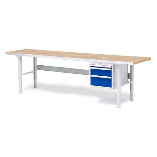 Stół warsztatowy Solid, zestaw z 3 szufladami, 500 kg, 2500x800 mm, dąb, 232143