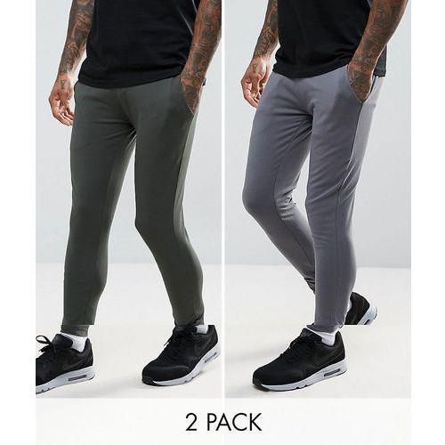 ASOS Extreme Super Skinny Joggers 2 Pack Khaki/ Washed Black SAVE - Multi, kolor zielony