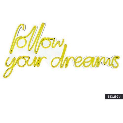 SELSEY Neon na ścianę Letely z napisem Follow Your Dreams żółty