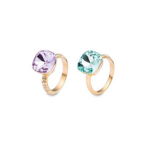 Komplet pierścionków (2 szt.) złoty kolor - lila - antracytowy marki Bonprix