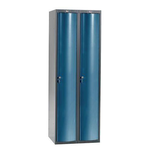 Szafa szatniowa Curve 2 sekcje 2 drzwi 1740x600x550 mm niebieski metali