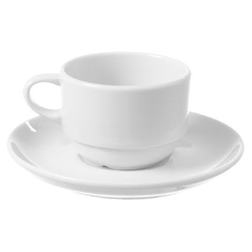 Fine dine Filiżanka sztaplowana espresso ze spodkiem porcelanowa bianco