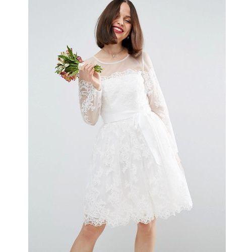 bridal long sleeve lace mini dress - white, Asos