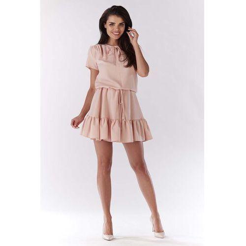 Jasno Różowa Mini Sukienka w Stylu Boho z Krótkim Rękawem, kolor różowy