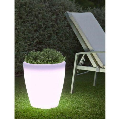 New garden donica violeta 55 solar biała - led, sterowana pilotem marki Sofa.pl