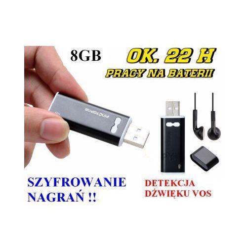 Spy Mikro-dyktafon / podsłuch nagrywający dźwięk (8gb) + aktywacja głosem + ochrona hasłem + słuchawki..
