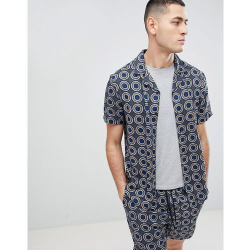 Another Influence Co-Ord Geometric Print Revere Collar Short Sleeve Shirt - Navy