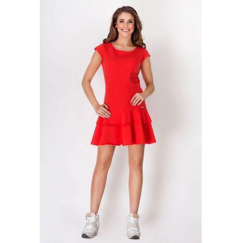 Awama Czerwona skromna letnia sukienka z falbankami na dole