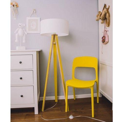 Ragaba Lampa podłogowa na trzech nogach drewniana z abażurem wanda - kolor żółty, biały abażur