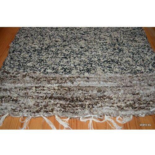 Chodnik bawełniany ręcznie tkany melaż czarno-ecru, końcówki brązowo-ecru 50x100 cm marki Twórczyni ludowa