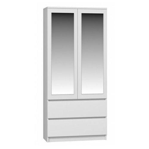 Elior Biała minimalistyczna szafa z lustrem - figra
