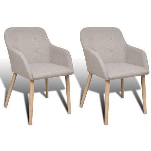 Vidaxl krzesła jadalniane z dębową ramą, 2 szt, materiałowe, beżowe