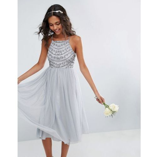 ASOS WEDDING Delicate Beaded Strappy Back Midi Dress - Grey