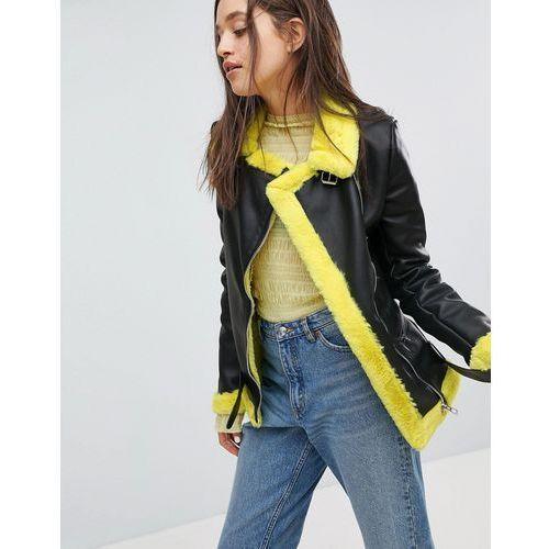 Bershka Faux Fur Contrast Biker Jacket - Yellow, w 4 rozmiarach