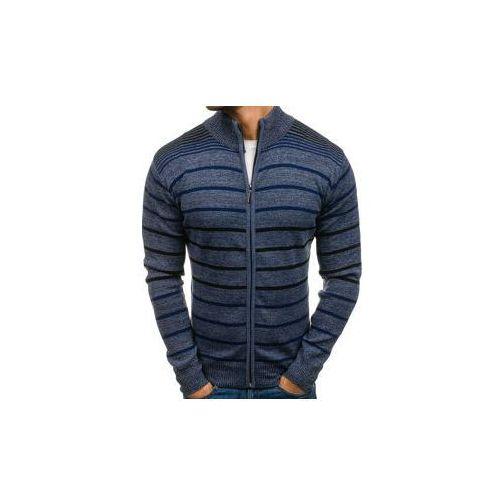 Sweter męski rozpinany niebieski Denley BM6093, rozpinany