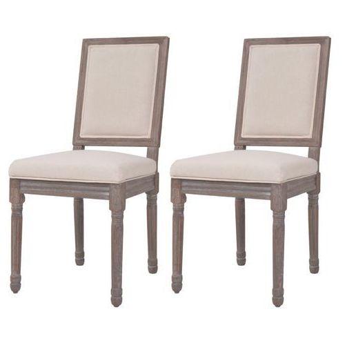 Krzesła do jadalni, 2 szt., len, 47x58x98 cm, kremowe,