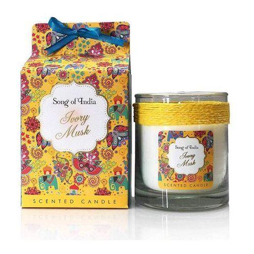 Song of india sojowa świeca zapachowa w szklanym słoju ivory musk 200g (8903833842019)