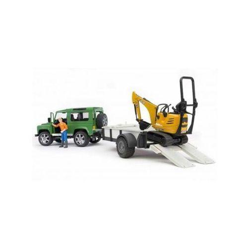 Land Rover z lawetą, minikoparka JCB i figurką Bruder 02593, BR02593