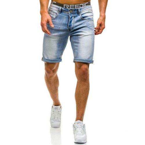 Krótkie spodenki jeansowe męskie jasnoniebieskie denley 9584, Bruno leoni