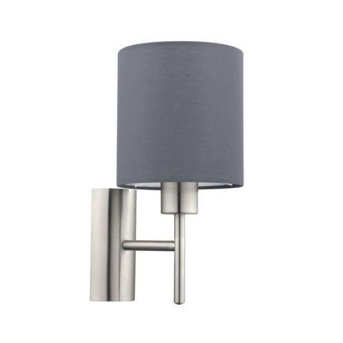 Eglo Kinkiet pasteri 94926 z abażurem lampa ścienna 1x60w e27 szary (9002759949266)