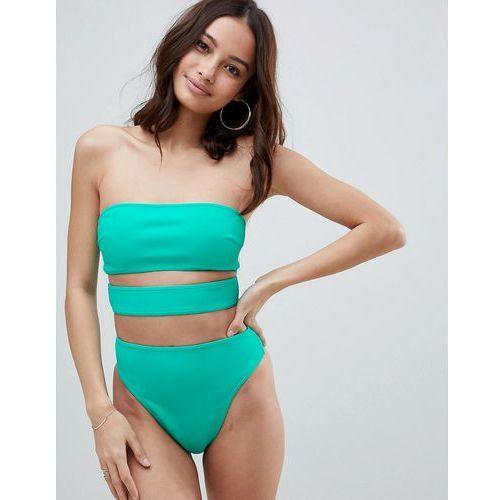 ASOS DESIGN neoprene bandeau strap bikini top in bali green - Green