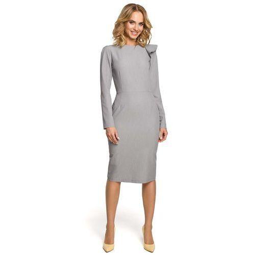 6003a73b76 Szara Sukienka Elegancka Ołówkowa z Falb.