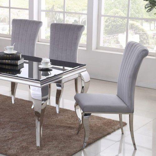 Krzesło glamour Stanley II Silver - nowoczesne krzesło tapicerowane (5908273395043)