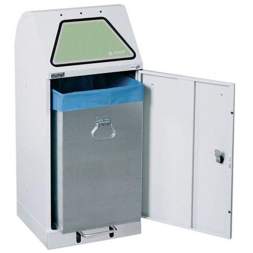 Systemowy pojemnik na surowce wtórne, klapa wrzutowa, uruchamianie nożne, ze zbi marki Stumpf-metall