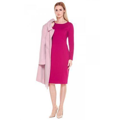Różowa sukienka z długim rękawem - Bialcon, 1 rozmiar
