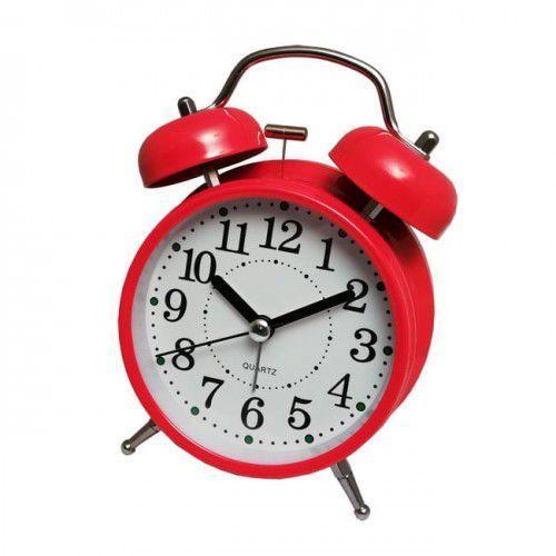 Super cichy budzik metalowy z dzwonkami #2R, kolor czerwony