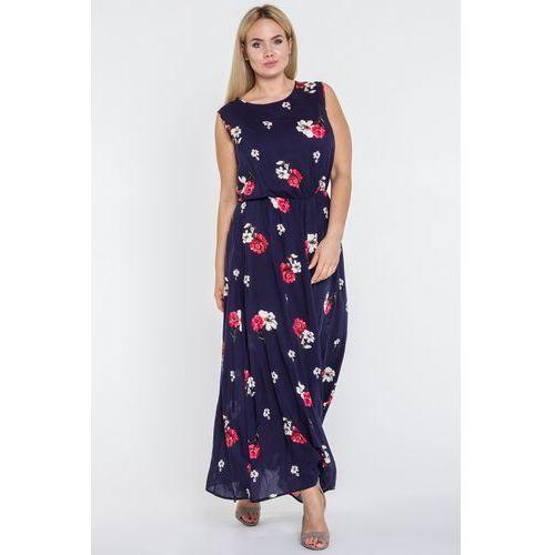 Granatowa sukienka maxi w kwiaty - Jelonek, 1 rozmiar