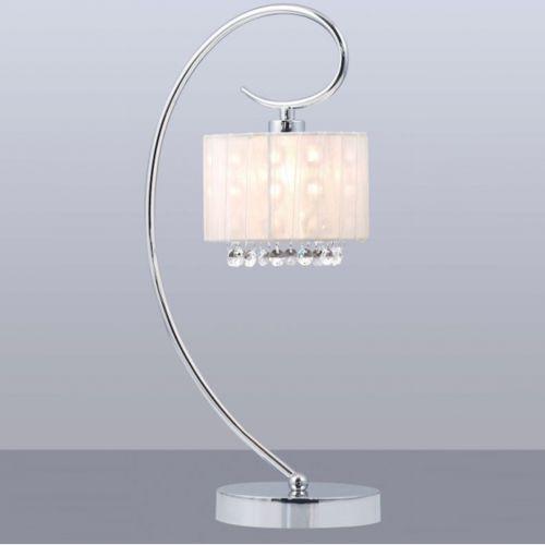 Nowoczesna LAMPA stołowa SPAN MTM1583/1 Italux abażurowa LAMPKA glamour OPRAWA kryształki crystal organza mgiełka chrom biała, MTM1583/1 WH
