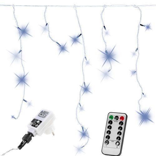 Białe lampki choinkowe zwisające na dom 200 diod + pilot - zimna biel / 200 led marki Voltronic ®