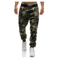 Spodnie męskie dresowe joggery moro-zielone Denley 2111, kolor zielony
