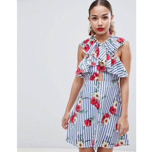 floral and stripe skater dress - multi, Boohoo