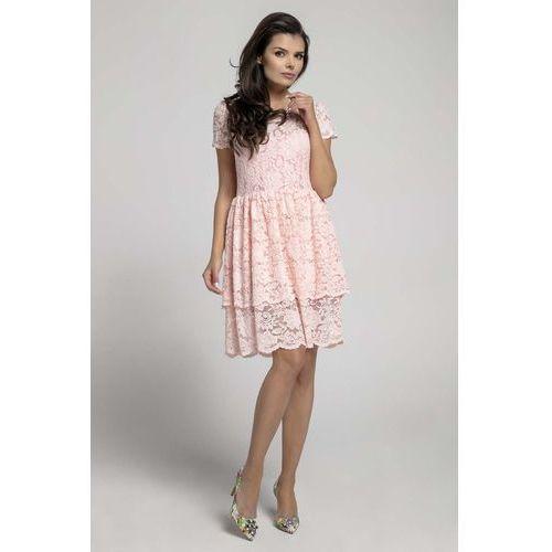 Jasnoróżowa Elegancka Sukienka Koronkowa z Falbanką, w 6 rozmiarach