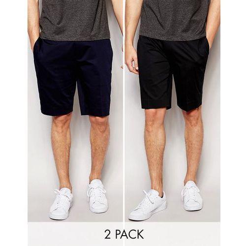 ASOS 2 Pack Skinny Tailored Shorts In Black And Navy Cotton Sateen SAVE - Multi, towar z kategorii: Pozostałe