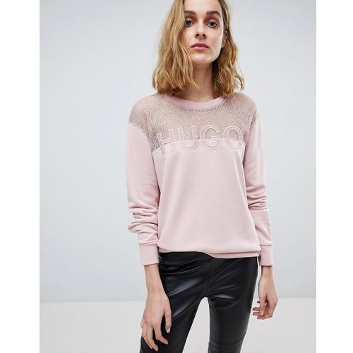 signature sweater with lace panel - pink marki Hugo