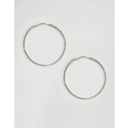 oversized rhinestone statement hoop earrings - silver marki Designb london