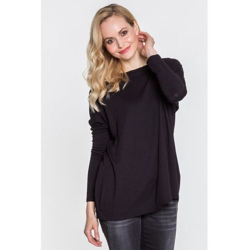 Czarna bluzka dzianinowa typu nietoperz - Tova, dzianina